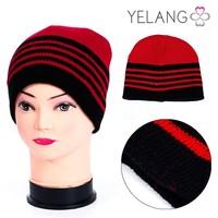 Cheap Fashion Young Boy Girl Red Black Stripe Winter Hats