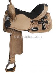 Black Cross Tooled Barrel Saddle