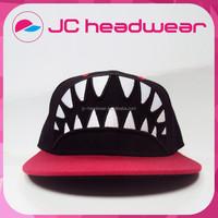 high quality snapback cap with 3D Shark teeth