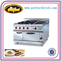 GH-999A Gas Range With 4-Burner &Lava Rock Grill & Oven
