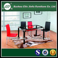 2015 hot selling modern tempered glass home furniture sets red and black Dining Tables and chairs MDT-296