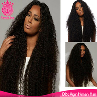 long lace front wig 20-26inch 180% density thick afro kinky human hair wig for black women