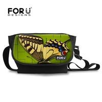 FOR U DESIGN Butterfly Durable Canvas Messenger Bag Sling Backpack Cross Body Bag for School Leisure that Unisex