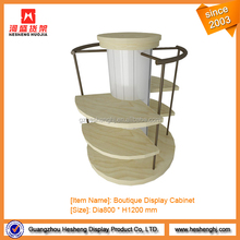 Retail store wooden round baby furniture for shoe display stand showcase