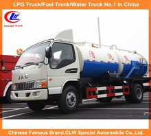 JAC suction sewage truck 3cbm water tank and 3cbm sewer tank 6000Liters vacuum sewer suction truck