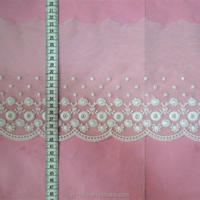 Italian style swiss embroidery lace design in nylon & cotton for dress making