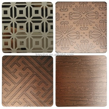 Foshan 304 1.0mm Etching Bronze Color Decorative Stainless Steel Sheet for Decoration
