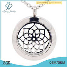 stainless steel aroma diffuser and coin disc pendant locket,locket diffuser pendant