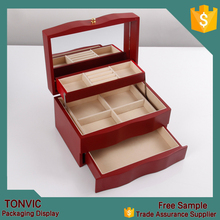 wholesale solid cherry wood jewelry box with drawers
