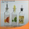 Fancy glass oil vinegar bottle with various colors/oil glass bottle with printing