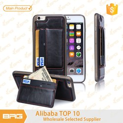 BRG for iPhone 6 Plus Case, TPU PC Leather Wallet Credit Card Holder Case for iPhone 6 Plus