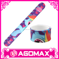 Custom printed metal slap wrist band silicone rubber snap bracelets