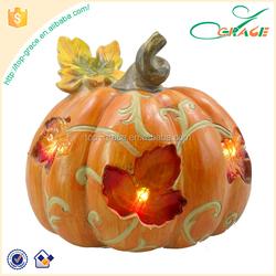 2016 Thanksgiving decoration resin LED light harvest pumpkin