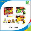 Brinquedos pistola de tiro do jogo duplo injetor macio da bala com balas 16 crianças brinquedos pistola de plástico, jg022659
