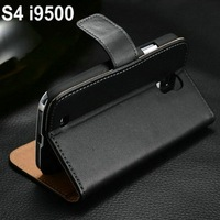 Promotion hard tough cell phone protective case for Samsung Galaxy S4 I9500 with plastic plate and genuine leather