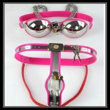 1 juego rosado femenil dispositivo de castidad +bra/ productos homosexuales de acero inoxidable de castidad/ los juguetes de sexo y entretenimiento para adultos