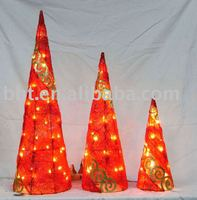 christmas decoration of sisal Xmas tree with iron carving and lights