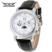 2015 moon phase Mens Watches Jargar Luxury Automatic Watch white dial cheap Mechanical Watch