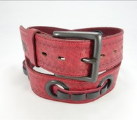 High Quality red engraving leather belt with fasion buckle for women