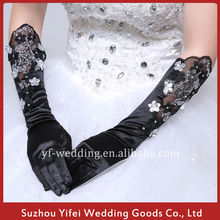 2015 Stretch Satin Fingertips Elbow Length Wedding/Special Occasion Gloves With Lace