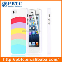 Set Screen Protector And Case For Iphone 5 , Hard Plastic White Colorful Stripes Accessories Cheap Case