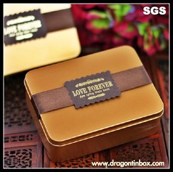 Wholesale upscale rectangular metal food containers for gift,diy biscuit / chocolate packaging tin boxes
