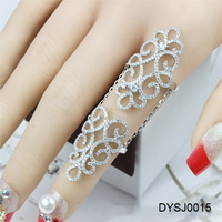 Stylish Latest 925 Silver Jewelry, Hollow CZ Long Ring, Art Deco CZ Full Finger Ring For Modern Women