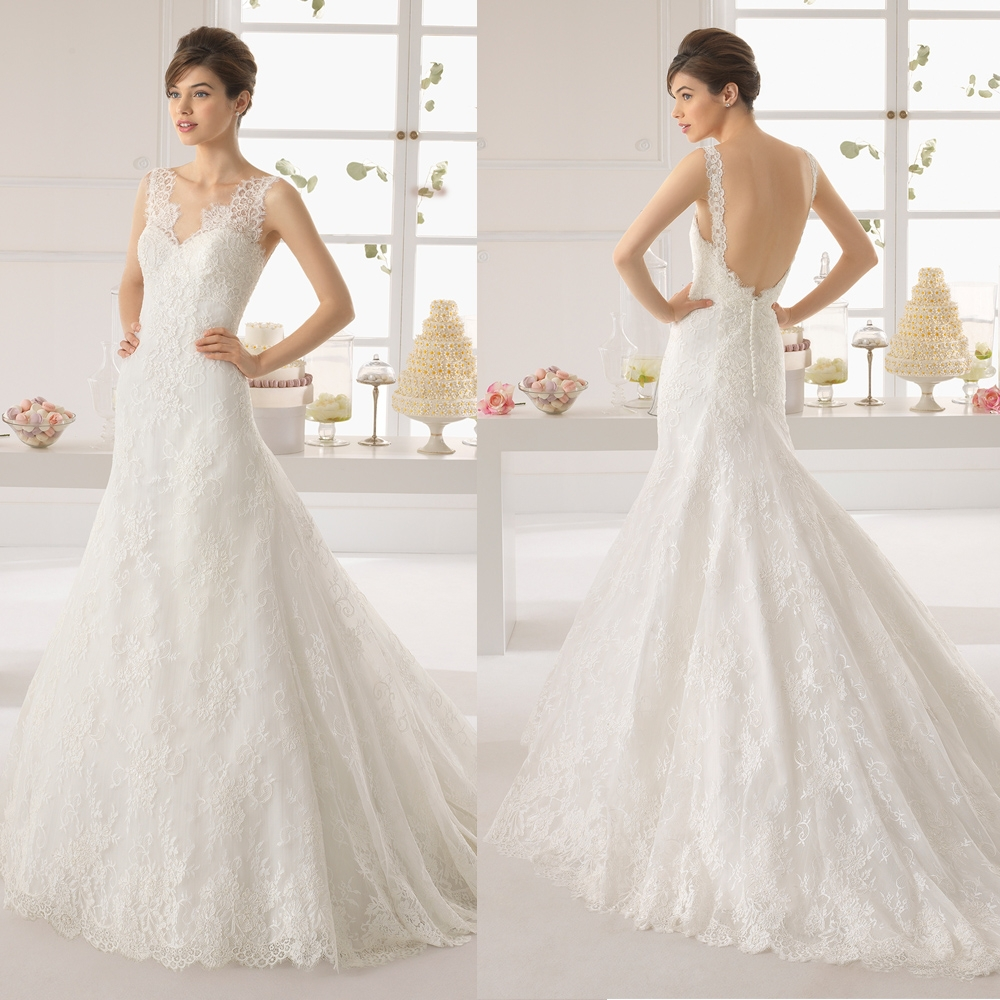 China Alibaba Latest Designer Lace Low Cut Back Wedding Dresses With Long Tra