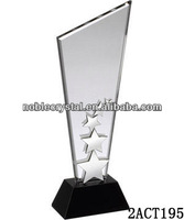 Noble finely crafted clear jade and black crystal awards