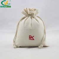 8oz canvas cotton drawstring pouch with printing