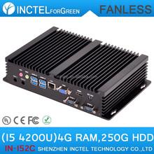 Desktop Computer Fanless PC with Intel i5 processor 4G RAM 250G HDD Intel Atom Mini PC