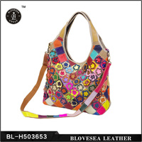 Factory Direct Sale Flower Plaid Multicolor Trend Real Leather Bags