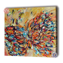 Canvas hand painted modern abstract butterfly animal decoration oil panting
