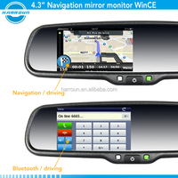 rearview mirror radar detector with garmin gps,gps navigation rearview mirror ,touch screen mirror