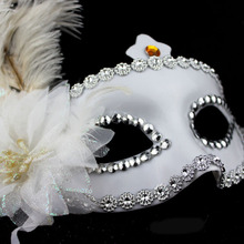 Hot selling half face mask shine ostrich feather masks for women in all festival with new design