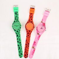 interchangeable simple face colorfu printingl flower silicone watch