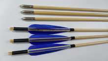 blue traditional arrow wooden arrows three feather for archery shooting recurve longbow