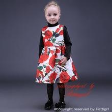 2015 navidad las flores de moda con rosa roja equipo Regular la rodilla-lenth fiesta Kids Wear nuevo diseño para el otoño