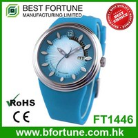 FT1446 Silicone stainless steel two tone date with quartz movement children watch