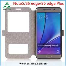 Ultra thin leather case For Galaxy Note 5 Window view Flip cover