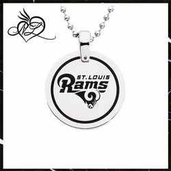 Stainless Steel St. Louis Rams Name Logo Necklace