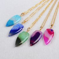 Rainbow color polished agate gemstone pendant,onyx agate arrowhead pendant