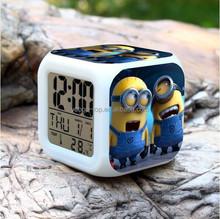(Hot Model) Mini Digital Led Minions Alarm Clock, Funny Kids Alarm Clock, Despicable Me Led Digital Alarm Clock