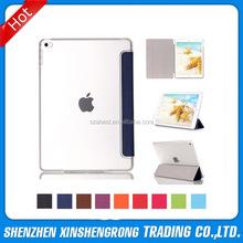 For iPad Mini 4 Leather Case with Clear Cover Case, Auto Wake Up Sleep TPU Flip Cover Protective Case for Ipad Mini 4