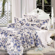 OEKO high quality silk blue and white printed elegant big flower bedding/comforter set 4 pcs for gift