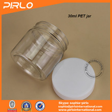 30ml 30g pet cream jar with screw top cap lid for skin care cosmetic products packaging