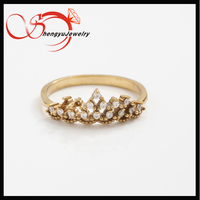CZ stone crown ring princess jewelry for girls (unplated )
