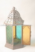BS10-944R Hurricane Lantern with Colorful Glass