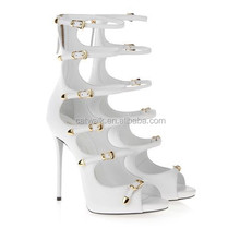 2015 Sexy Cut Out white Sandals High Heel Women Gladiator sandals buckle women ankle sandals
