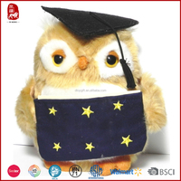 2015 hot sale gift graduation owl plush toy for students China manufacture